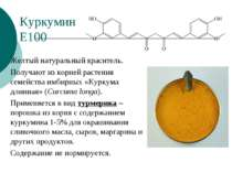 Куркумин Е100 Желтый натуральный краситель. Получают из корней растения семей...