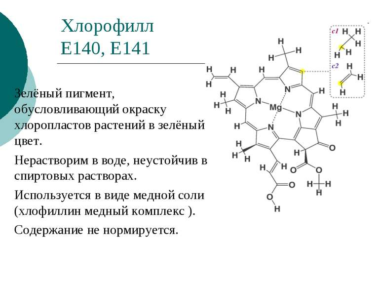 Хлорофилл Е140, Е141 Зелёный пигмент, обусловливающий окраску хлоропластов ра...