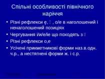 Спільні особливості північного наріччя Різні рефлекси ę, ѣ, о/е в наголошений...